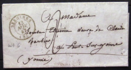 Cachet Type 15  --  SERGINES  --  YONNE  --  LSC  --  1847  --  Indice 6 - Marcophilie (Lettres)