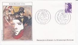 EUGENE DELACROIX, La Liberté Guidant Le Peuple, Sabine, Dessin De Agnès Krigel,  FDC 01/06/1983 - FDC