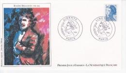 EUGENE DELACROIX, Portrait, Sabine, Dessin De Jean-Luc Habran,  FDC 01/07/1984 - FDC