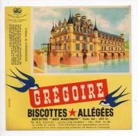 Buvard - Biscottes Allégées Grégoire - Château De Chenonceaux - Zwieback