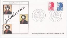 EUGENE DELACROIX, Portrait, Signature, Sabine, Dessin De Agnès Kriegel,  FDC 01/06/1983 - FDC