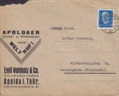 Germany Deutsches Reich EMIL VOLKHOLZ & Co. Wollwaren-Fabrik APOLDA 1930 Cover Brief To HELSINGFORS Finland Hindenburg - Deutschland