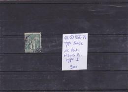 TIMBRE DE FRANCE OBLITERE  N R  61 TYPE SAGE 1C VERT N Sous B TYPE I  COTE 90€ - 1876-1878 Sage (Type I)