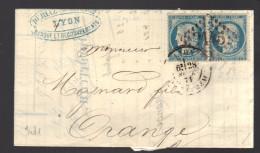 FRANCE N° 37 Paire Obl. S/Lettre Entiére GC 2145 Lyon - 1870 Siege Of Paris