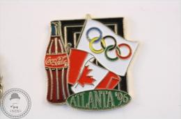 Coca Cola  Olympic Games Atlanta 1996 - Canada And Olympic Flag - Pin Badge #PLS - Coca-Cola