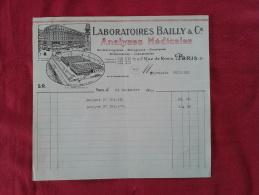 LABORATOIRES BAILLY & CIE À PARIS (75008). FACTURE DATÉE 1929. - France
