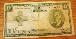 MALTA 10 SHILLINGS 1949 RARE - Malte