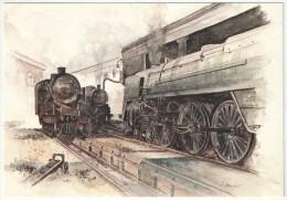 Lucien JOVENEAUX - Aquarelle Ferroviaire - Trains