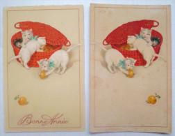 Lot 2x Litho Inversée Illustrateur ED N° 309  Chat 4 Chats Chaton Blanc Dans Panier Osier Rouge Rempli De Pommes  Pomme - Cats