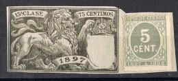 Fragmento Sello 5 Cts Impuesto De Guerra Y Fiscal  Poliza 13 Clase 1897, Ed. Numero 232 º - Impuestos De Guerra