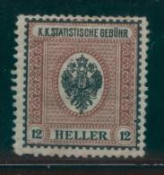 AUSTRIA 1910 STATISTISCHE GEBUHREN STATISTICS REVENUE 12H BLACK ON RED GEBUHR SPELLING THICKER NORMAL PAPER HM BF#16A - Fiscaux