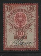 AUSTRIA REPUBLICAN EAGLE 1920 REVENUE 10 KRONER DARK RED ON GREEN NORMAL PAPER USED BAREFOOT #520 - Fiscaux