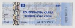 CROATIA -  KROATIEN:   Tram And Buss Ticket - ZET , ZAGREB . Fine Used. - Kroatien
