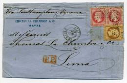 LAC du HAVRE � LIMA ( PEROU ) Via Panama / Aff 2 x YT 32 + 31 /16 Mai 1868 /Tarif 2�me echelon du 1 janv 1866/ C�te 950�