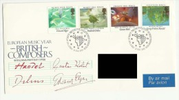 Great Britain First Day Cover British Composers 1985 Air Mail FDC GB To  Saudi Arabia  Birds Space Water - FDC