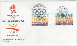 SPAGNA - 1992 - PAISES OLIMPICOS BARCELONA MADRID - PARIS - FDC - FDC