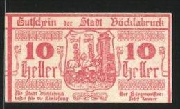 Billet De Nécessité Vöcklabruck 1919, 10 Heller, Stadtwappen - Austria