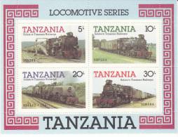 TANZANIA, 1985 TRAINS M/SHEET MNH - Tanzania (1964-...)