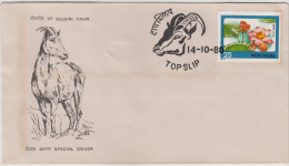 India 1980  Nilgiri Tahr (Mountain Deer)  Topslip Cancellation Cover  # 82297  Inde Indien - Game