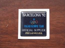Barcelona '92 Italian Olympic Team Official Supplier PAUL & SHARK ( Zie Foto ) Zelfklever Sticker Autocollant ! - Publicités