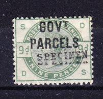 1883 SG 063 * Queen Victoria 9 D. Green Aufdruck GOVt PARCELS (SPECIMEN Doppelt Druck Abart) - 1840-1901 (Victoria)
