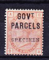1883 SG 064 * Queen Victoria 1 S. Orange-braun Aufdruck GOVt PARCELS + SPECIMEN Geprüft - 1840-1901 (Victoria)