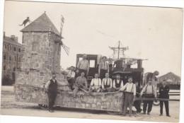 23744- Chalons Sur Marne -carte Photo Carnaval Char Train Locomotive Moulin Militaire Soldat- Caserne - Boulve?