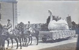 23746 Chalons Sur Marne -carte Photo Carnaval Char Cheval Attelage Leda Cygne Militaire Soldat- Caserne - Boulve?