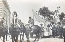 23747 Chalons Sur Marne -carte Photo Carnaval Char Cheval Attelage Lune Pierrot Militaire Soldat- Caserne - Boulve?