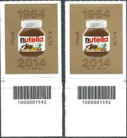 Italia 2014 Nutella Coppia Dx E Sx - 6. 1946-.. Repubblica