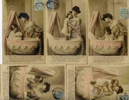 Série Complète 5 Cartes Couleur;L´Oreiller,Femme Petite Fille-1906 - Mujeres