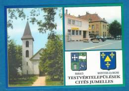 57-MONTOIS-LA-MONTAGNE- La Poste Et L´hôtel De Ville-mairie-BARACS- L´église- CITES JUMELEES-BLASON- 10,5 X 15 - COMEDI - Sin Clasificación