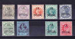 Lot 9 Marken Queen Victoria Und King Edward VII Mit Aufdruck I.R. OFFICIAL  Alle Mit Falz - Groot-Brittannië