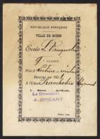 PRIX DE LECTURE ET ECRITURE ECOLE VAUQUELIN à ROUEN 1931 , ELEVE FRANCHETERRE RAYMOND - Vieux Papiers