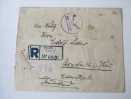 Jugoslawien / Serbien 1923 R-Brief Nach Deutschland Vrsac - Arnstadt. Rekomandiert. Stempel: K - 1919-1929 Kingdom Of Serbs, Croats And Slovenes