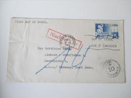 Kanada FDC 1955 Echt Gelaufen Nach Deutschland / East Zone / DDR. Roter Stempel: Nachgebühr. T 10 Centimes - Ersttagsbelege (FDC)