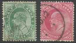India. 1906-07 King Edward VII, ½a, 1a Used. SG 149, 150 - India (...-1947)
