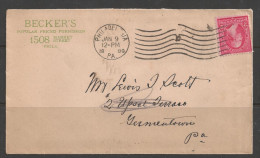 """1899 Philadelphia PA """"10"""" (Jan 9) Corner Card  From Becker´s, Popular Priced Furnisher. - 1847-99 General Issues"""