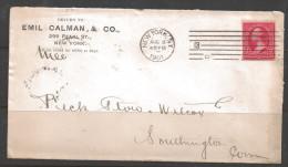 """1901 New York, """"13"""", """"c"""" (Aug 8), Corner Card  From Emil Calman & Co. - Estados Unidos"""