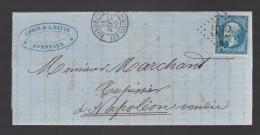 FRANCE N° 22 Obl. S/Lettre Entiére GC 532 B Bordeaux Les Saliniéres - 1862 Napoleon III