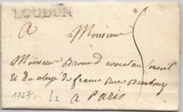 - Lettre - POITOU - LOUDUN En Noir - L.2 - TAXEE - 1757 - 1701-1800: Voorlopers XVIII