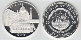 UNC - NEUVE **** LIBERIA 20 DOLLARS 2000 PARIS MONUMENTS - SILVER - ARGENT ****  EN ACHAT IMMEDIAT !!! - Liberia