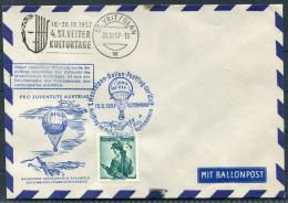 1957 Austria St Veiter Kulturetage Pro Juventute Ballonpost Charity Flight Cover - Transport