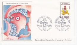 Recensement De La Population, Cocarde,  Dessin De Cécile Guillaume,  FDC 27/02/1982 - 1980-1989
