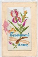 23764 Face CP Brodée (sans Verso) -iris Fleur - Tendrement à Vous - - Brodées