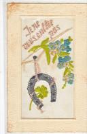 23765 Face CP Brodée (sans Verso) - Myosotis Fer à Cheval  Fleur - Je Ne Vous Oublie Pas - - Brodées