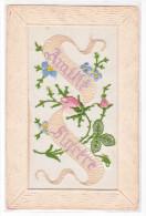 23766  Face CP Brodée (sans Verso) - Myosotis   Fleur - Amitie Sincere -
