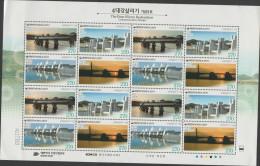 O) 2011 KOREA, BRIDGES, RIVER, BLOCK LIGHTLY FOLD, MNH - Korea (...-1945)