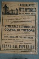 23 - BOURGANEUF - TRES BELLE AFFICHE FETE NATIONALE DU 14 JUILLET 1946- IMPRIMERIE ROUER TIMBRE 45 CTS