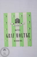 Hotel Graf Moltke, Hamburg - Germany - Original Hotel Luggage Label - Sticker - Hotel Labels